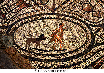 Ancient roman mosaic from Volubilis, Morocco