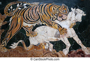 Ancient Roman Mosaic Tiger Hunting Capitoline Museum Rome ...