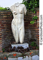 Ancient Roman Nude Woman Statue Ostia Antica Rome Italy -...