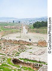 ancient roman oval forum in antique town Jerash in Jordan