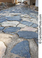 Ancient Roman road pavement