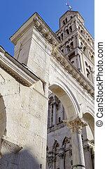 Ancient Roman ruins, Diocletian Palace in Split, Croatia