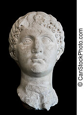 Ancient Roman Sculpture on black isolated background