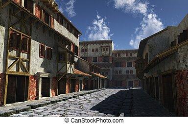 Ancient Roman Street - Deserted ancient Roman street in...