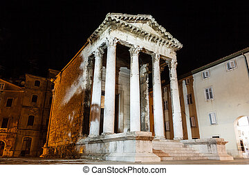 Ancient Roman Temple of Augustus in Pula at Night, Croatia