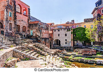 Ancient Roman theater in Catania, built from the limestone...