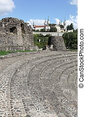 Ancient roman theater of Fourviere with the basilica of Fourviere in Lyon, France
