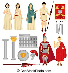 Ancient Rome male and female characters and old relics....