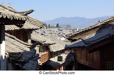 Ancient roof in Lijiang, Yunnan - Ancient roof in Lijiang...