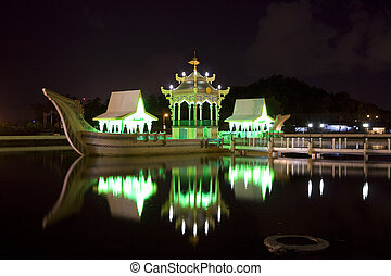 Ancient Royal Barge, Brunei - Night image of the Ancient...