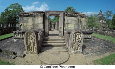 Ancient Ruin of Stone Building with Sculptures in Polonnaruwa