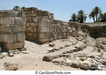 Excavations at the site of the ancient city of Tel Megiddo which overlooks the Valley of Armageddon, Israel.