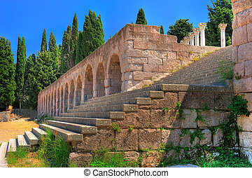 Ruins of Asclepeion - ancient hospital created by Hippocrates (Kos island, Greece)