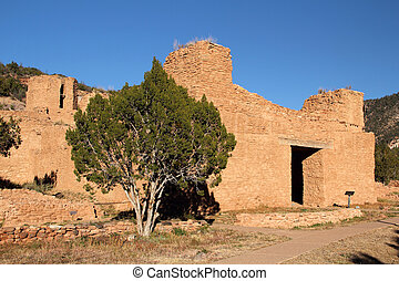 Ancient Ruins in Jemez Historic Site, American Southwest, New Mexico