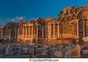 Ancient ruins in Side (Turkey) at sunset
