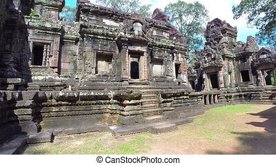Ancient Ruins Near Angkor Wat In Cambodia, steadicam shot