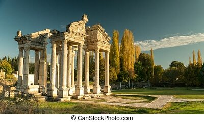 Ancient ruins of Aphrodisias. Tetrapylon was the monumental...