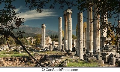 Ancient ruins of Aphrodisias, the Temple of Aphrodite. Time...