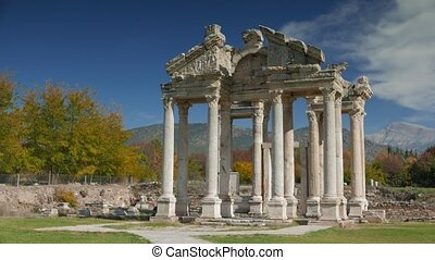 Ancient ruins of famous Tetrapylon Gate in Aphrodisias,...