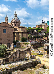 Ancient ruins of Forum in Rome