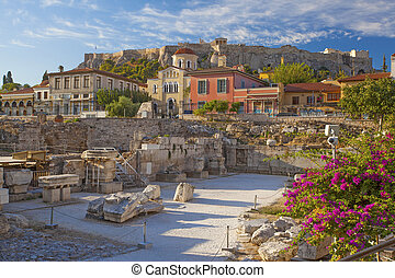 Ancient ruins of Library of Hadrian, Athens, Greece.
