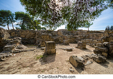 Ancient ruins of Phaistos city, Crete. Here was found the famous Phaistos Disc a disk of fired clay covered on both sides with a spiral of stamped hieroglyphic symbols.