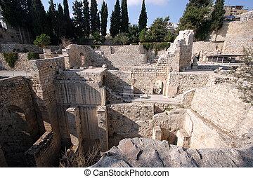 Ancient ruins of pools in the Muslim Quarter of Jerusalem