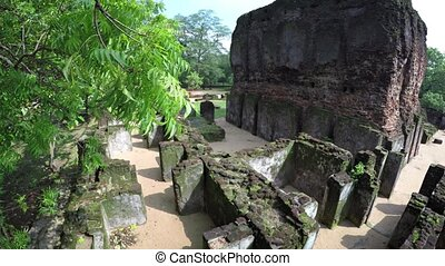 Ancient Ruins of Royal Palace at Polonnaruwa, Sri Lanka -...