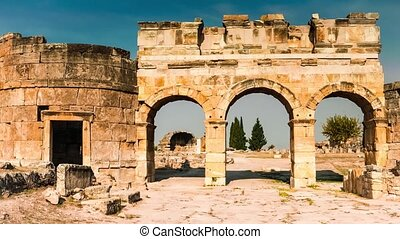 Ancient ruins of the main thoroughfare of Hierapolis,...