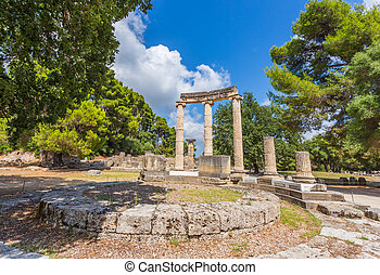 ancient ruins of the important Philippeion in Olympia, birthplace of the olympic games - UNESCO world heritage site