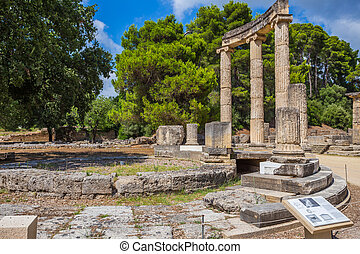 ancient ruins of the Philippeion, Ancient Olympia - ancient...