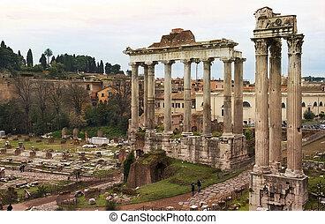 ancient ruins of the Roman Forum (Foro Romano) in Rome