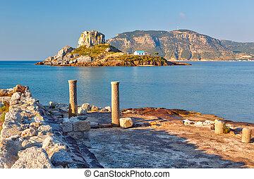 Ancient ruins on Kos, Greece - Island Kastri and ruins on...