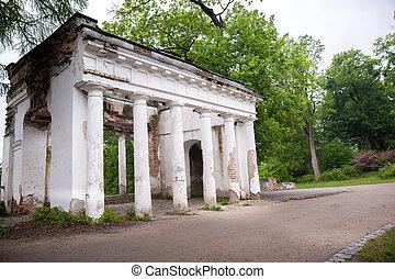 Ancient ruins with columns in Alexandria park, Ukraine