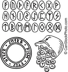 Ancient runes drawing - Hand drawn illustration of ancient...