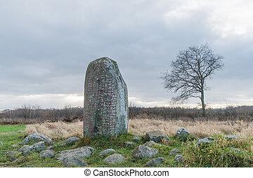 Ancient runestone in a rural landscape
