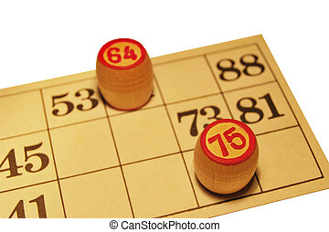 Ancient Russian lotto game, a card with numbers and wooden barrels, isolate on a white background