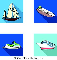 Ancient sailboat, motor boat, scooter, marine liner.Ships and water transport set collection icons in flat style vector symbol stock illustration web.