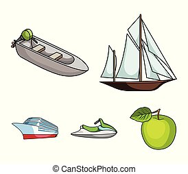 Ancient sailboat, motor boat, scooter, marine liner.Ships and water transport set collection icons in cartoon style vector symbol stock illustration web.