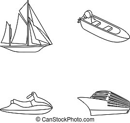 Ancient sailboat, motor boat, scooter, marine liner.Ships and water transport set collection icons in monocrome style vector symbol stock illustration web.