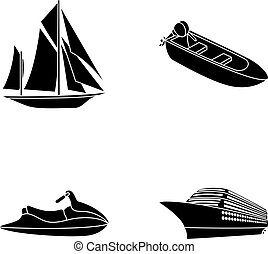 Ancient sailboat, motor boat, scooter, marine liner.Ships and water transport set collection icons in black style vector symbol stock illustration web.