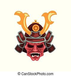 Ancient Samurai warrior war helmet with horns vector Illustration on a white background