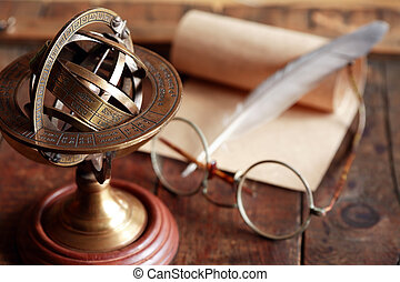 Ancient Science - Vintage still life with Armillary sphere...