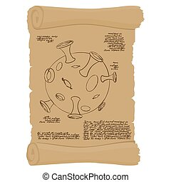 Ancient scroll with map of   moon. Old paper with Planet Moon. Antique parchment structure of  moon. Ancient space exploration. Space planet infographics.