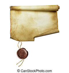 Ancient scroll with seal isolated over a white background