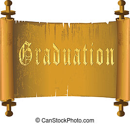 Ancient scrolls - Graduation in ancient torn ggold...
