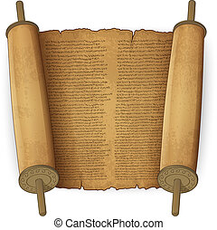 Ancient scrolls with text - Vector illustration of ancient...