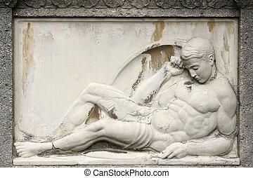 Ancient Sculpture - Ancient male sculpture at a gravestone ...