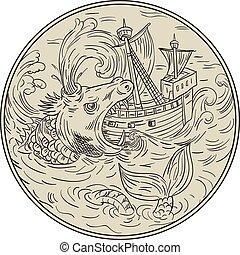 Ancient Sea Monster Attacking Sailing Ship Circle Drawing - ...