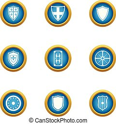 Ancient shield icons set, flat style - Ancient shield icons...